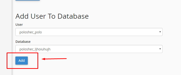 قسمت Add User to Database