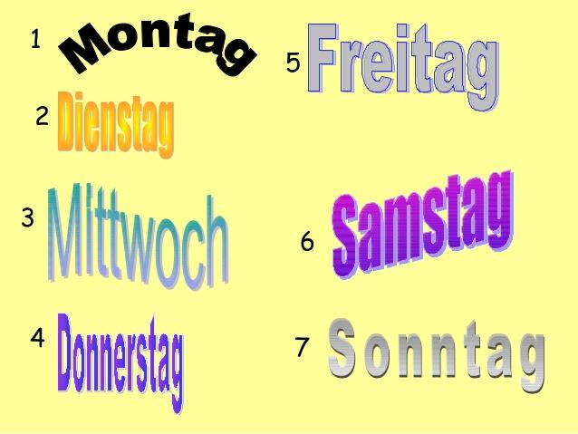 روزهای هفته به آلمانی
