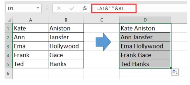 چسباندن دو ستون به کمک فرمول